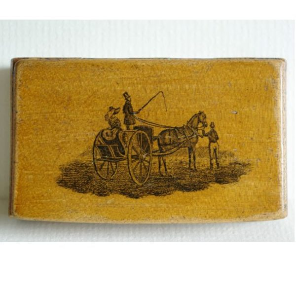 Early Mauchline Snuff Box with hand decorated base.