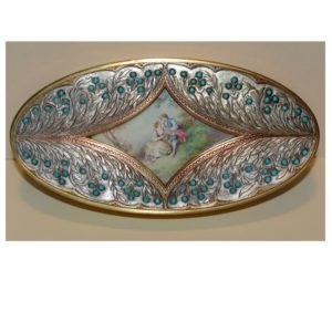 Oval Gilt and Turquoise Casket